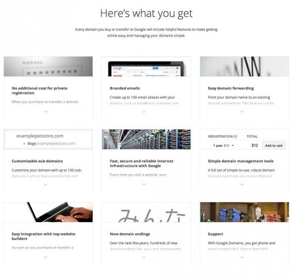 Die Google Domains bieten einen üblichen Feature-Umfang und sollen sehr leicht einzurichten sein. (Quelle: domains.google.com)