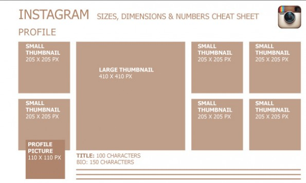 Instagram-Bildmaße: Ein Klick auf den Ausschnitt öffnet die vollständige Infografik. (Infografik: goingsocial / Social Influence Academy)