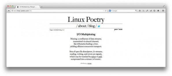 Linux als Gedicht: Morgan Phillips nutzt Poesie um sich in das Thema einzuarbeiten und ihr Wissen zu festigen. (Screenshot: Linux Poetry)