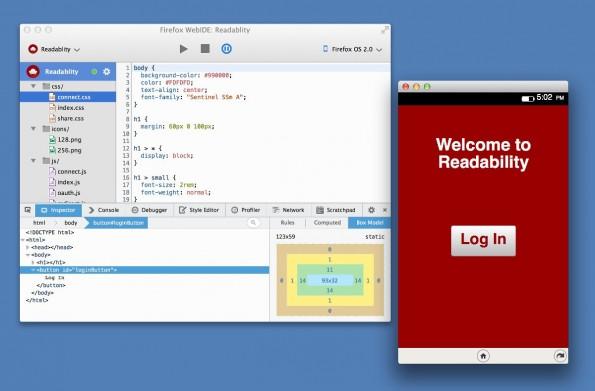 WebIDE: Mozilla liefert den Firefox-Browser zukünftig mit eigener Entwicklungsumgebung aus. (Screenshot: Mozilla)
