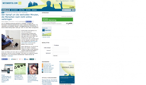 t3n-Blogperlen Startups #7: Netzwertig.com (Screenshot: t3n(
