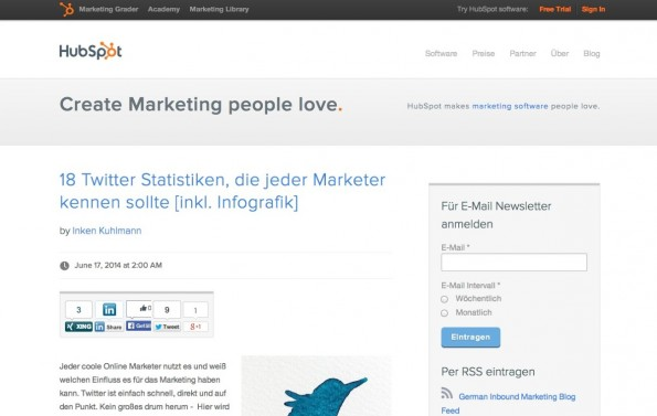 t3n-Blogperlen Online-Marketing #9: Hubspot. (Screenshot: blog.hubspot.de)