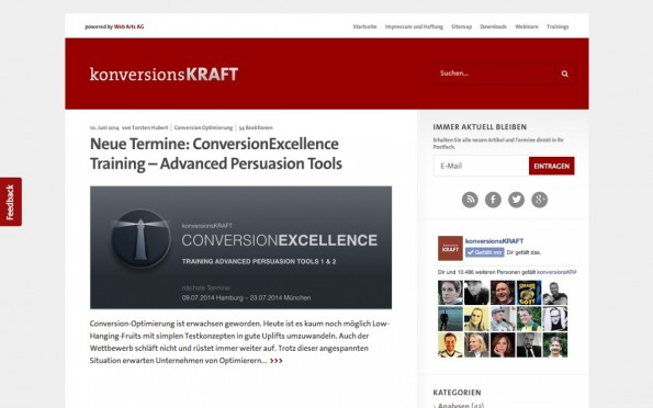 t3n-Blogperlen Online-Marketing #1: konversionsKraft. (Screenshot: konversionskraft.de)