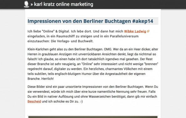 t3n-Blogperlen Online-Marketing #4: Karl Kratz. (Screenshot: karlkratz.de)