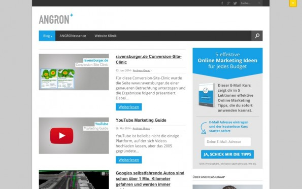 t3n-Blogperlen Online-Marketing #5: Angron.de. (Screenshot: angron.de)