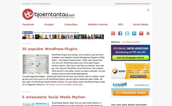 t3n-Blogperlen Online-Marketing #7: BjoernTantau.com. (Screenshot: bjoerntantau.com)
