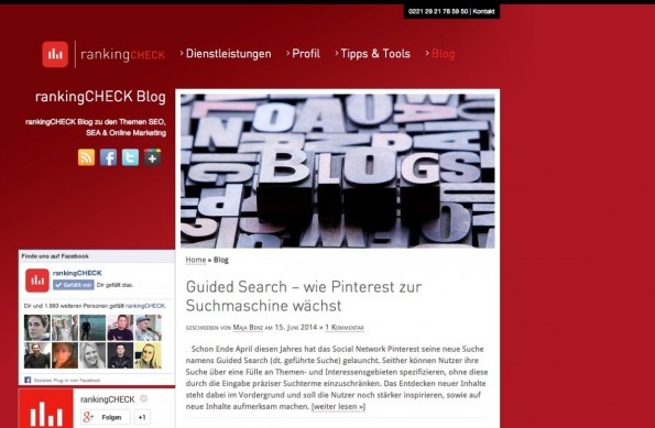 t3n-Blogperlen Online-Marketing #8: RankingCheck. (Screenshot: ranking-check.de)