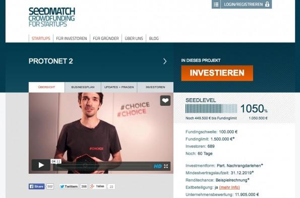Protonet hat mit seinem zweiten Crowdfunding-Projekt einen weiteren Rekord aufgestellt: Mehr als eine Million Euro sind nach nur drei Stunden zusammengekommen. (Screenshot: Seedmatch)