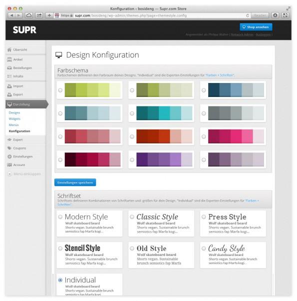 Konfigurtionsmenü für Design-Anpassungen.(Screenshot: SUPR)