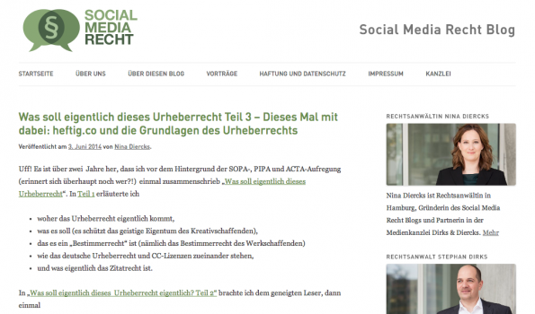 """t3n-Blogperlen – Social Media #1: """"Social Media Recht Blog""""."""