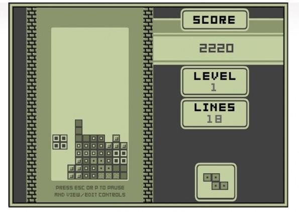 Mit Tetris 1989 könnt ihr nicht nur eine Version im Browser zocken, die sehr nah am Ur-Tetris auf dem GameBoy ist, sondern sogar die Musik von damalas beinhaltet. (Screenshot:; Tetris-Fans)
