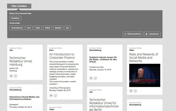 Der Newsstream von FutureMe eignet sich mit den vielen Informationen zu einem bestimmten Berufsfeld nicht nur für Jobsuchende. (Bild: Xing)