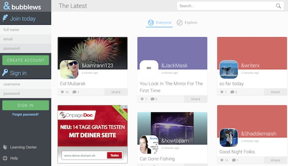 Bubblews bezahlt Nutzer für das Generieren von Traffic (Screenshot: Bubblews)