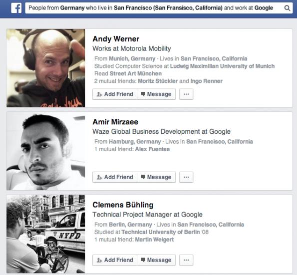 Facebook-Graph-Seach: Trefferliste für Deutsche, die in San Francisco leben und bei Google arbeiten. (Screenshot: Facebook)