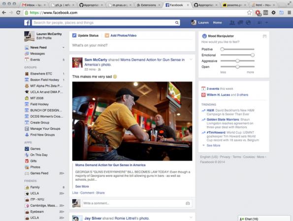 Facebook Mood Manipulator – Plugin soll Zuckerberg zurückpfeifen. (Screenshot: Lauren McCarthy)