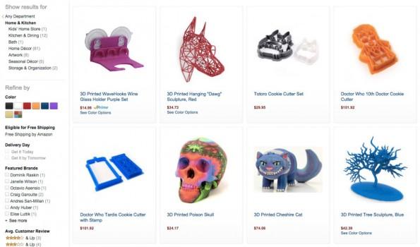 Bei Amazon gibt es nun Schmuck, Deko und vieles mehr aus dem 3D-Drucker. (Screenshot: Amazon.com)