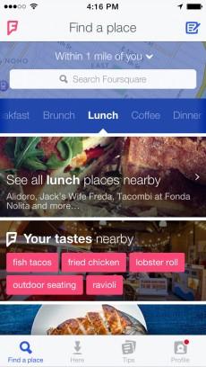 Die Startseite der neuen Foursquare-App soll sich individuell an jeden Nutzer anpassen und dessen Vorlieben berücksichtigen. (Quelle: blog.foursquare.com)