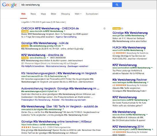 Suchergebnisseite für einen kommerziellen Begriff mit Google-Adwords-Anzeigen. (Screenshot: Google)