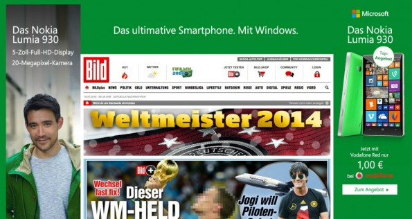 Ungezielte Werbeansprache mit Bannerwerbung (Screenshot: bild.de)