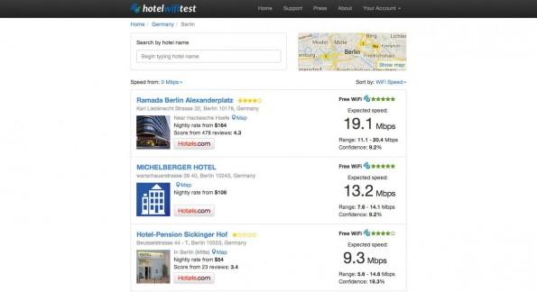 WLAN im Hotel: Reise-Tool sagt euch, wo ihr schnell surfen könnt. (Screenshot: Hotelwifitest)