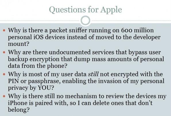 Bezüglich der iOS-Sicherheitslücke stellt Zdziarski einige interessante Fragen an Apple. (Bild: Zdziarski)