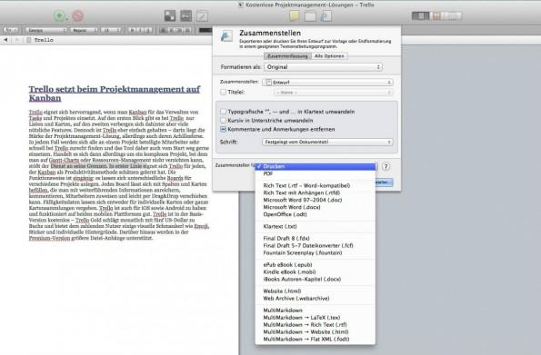 Zum Bereitstellen des fertigen Textes bietet Scrivener eine Vielzahl unterschiedlicher Ausgabeformate.