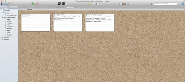 Auf der Pinnwand von Scrivener lässt sich die Struktur des finalen Textes ändern. Die Kärtchen mit einer kurzen Synopsis des Inhalts lassen sich per Drag&Drop verschieben. Entweder plant man die Struktur bereits vor dem Texten, oder man schreibt erst einmal drauf los und ändert die Struktur am Ende.