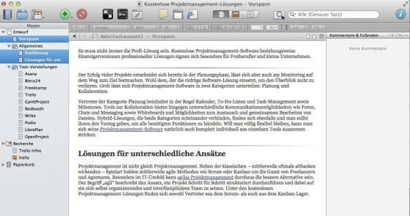 Scrivener erlaubt auch das Bearbeiten von mehreren Textbausteinen gleichzeitig.