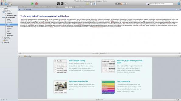 Der Splitview eignet sich auch hervorragend, um ein Recherche-Dokument und den zu bearbeitenden Text gleichzeitig im Blick zu behalten.