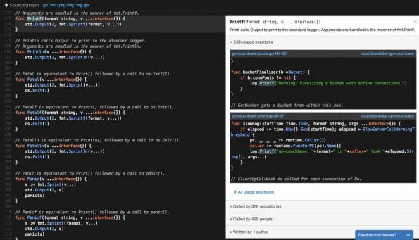 Sourcegraph hilft beim Auffinden und beim Verständnis von Quellcode. (Screenshot: Sourcegraph)