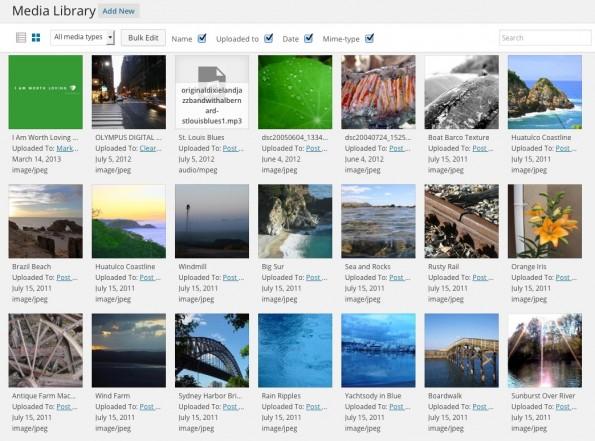 Für den schnellen Überblick: Die neue Darstellung der Medien in WordPress 4.0. (Screenshot: eigene Installation)