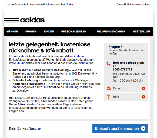 Adidas. (Quelle: Online Marketing Rockstars)