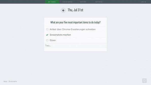 Chrome-Erweiterung: Dayboard ist eine praktische und übersichtliche To-Do-Liste für den Browser. (Screenshot: Dayboard)