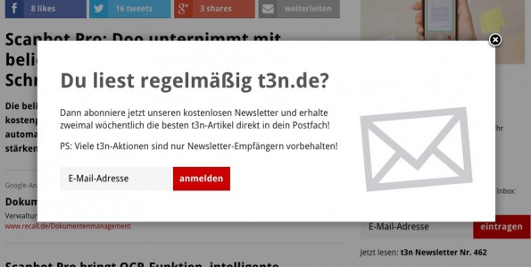 Exit-Intent-Popup auf t3n.de. (Screenshot: t3n)