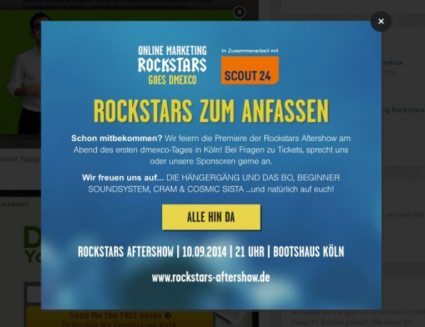 Exit-Intent-Popup bei den OnlineMarketingRockstars. (Screenshot: OnlineMarketingRockstars)