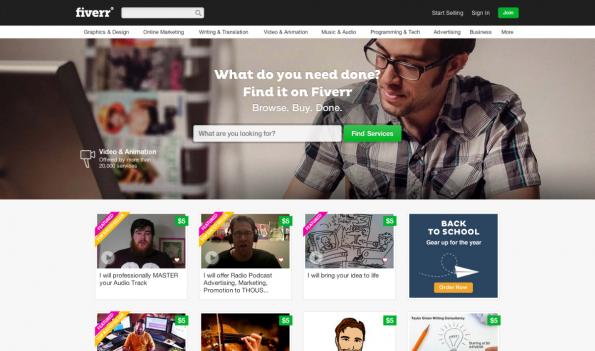 Fiverr vermittelt digitale Mini-Jobs ab fünf Euro. Vor allem Kreativarbeiten werden hier von Menschen aus aller Welt angeboten. (Screenshot: t3n)