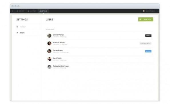 Wichtiges neues Feature: Multi-User-Unterstützung bei Ghost. (Screenshot: Ghost)