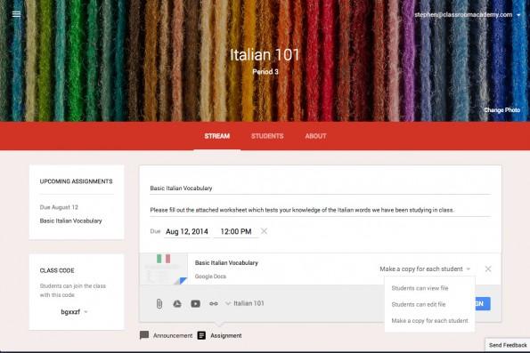 Google Classroom: Eine Cloud-Plattform für Lehrern und Schüler. (Screenshot: Google Classroom)