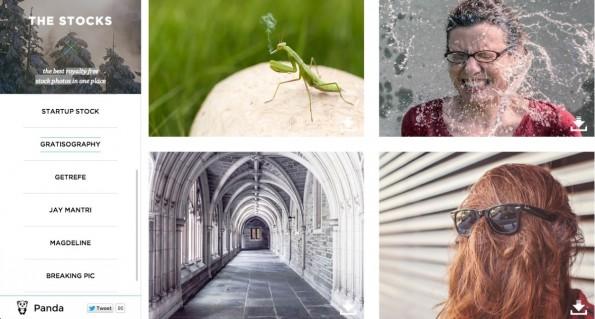 TheStocks aggregiert verschiedene Anbieter lizenzfreier Stockfotos. Ist links die gewünschte Seite ausgewählt, sind rechts die Fotos zu sehen. (Screenshot: TheStocks)