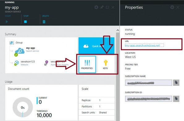 Azure Search: Microsoft erweitert Cloud-Service um eigene Suche. (Screenshot: Microsoft)