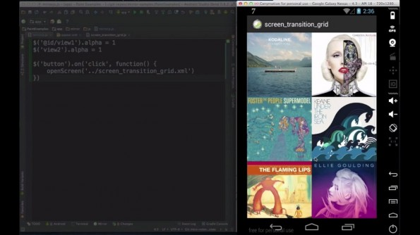 Mirror.js: Live-Prototyping für Android-Entwickler. (Screenshot: Jimu Labs / YouTube)