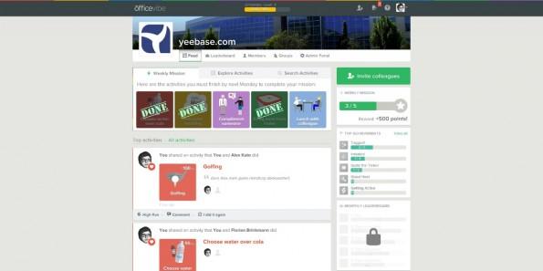 Wie in Sozialen Netzwerken auch gibt es bei Officevibe eine Timeline, die alle Aktivitäten im Unternehmen zeigt. (Screenshot: Officevibe)