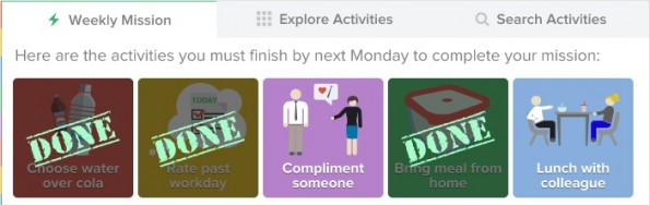 Officevibe gibt jedem Nutzer wöchentliche Ziele vor – jede Woche fünf neue. (Screenshot: Officevibe)