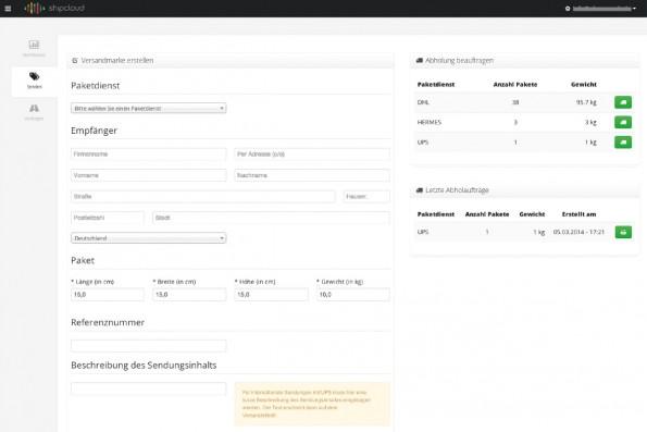 Erstellung einer Versandmarke im Webinterface.(Screenshot: Shipcloud)