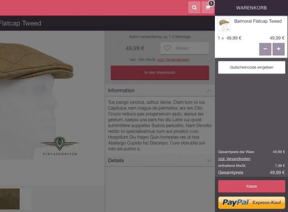 Warenkorb-Ansicht der CouchCommerce-Demo-App. (Bild: CouchCommerce)