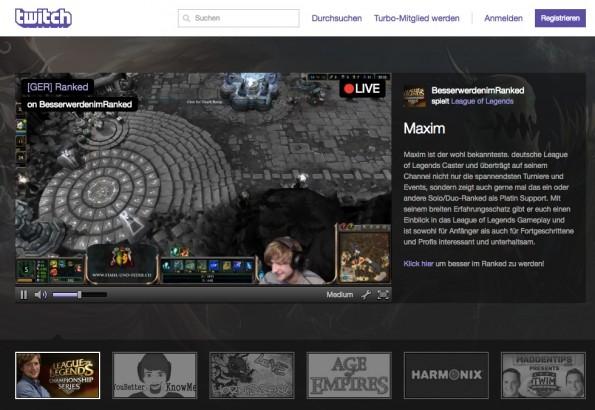 Twitch: Das Portal für Live-Streaming von Videospielen verzeichnet enormen Besucherzuwachs und kommt mit seiner Server-Infrastruktur bisher kaum hinterher. (Screenshot: twitch.tv)