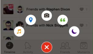 Das Social Network Path präsentiert seinen Nutzern verschiedene Interaktionsmöglichkeiten auf ansprechende Weise. Screenshot: brianlovin.com)