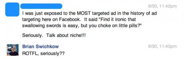 Streich mittels Facebook-Ads gespielt: So soll die Reaktion des Opfers ausgesehen haben. (Screenshot: Brian Swichkow)