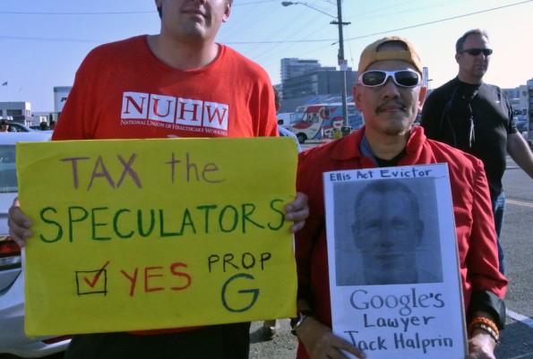 Aktivisten fordern Steuern auf Mieterhöhung in San Francisco. (Foto: Andreas Weck)