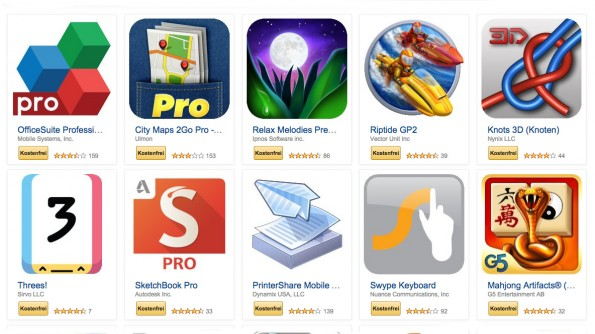 Bei Amazon gibt es derzeit 27 Android-Apps umsonst. (Screenshot: Amazon)